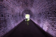 Ancient Rarilway Tunnel lighted in Purple, Brockville, Canada