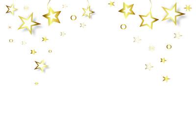 Stern Konfetti Sterne Star Stars Gold fliegen Hintergrund Gold Weihnachten