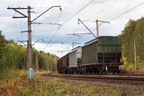 the last cars of a freight train