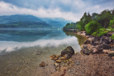 Overcast morning by the lake, Mondsee, Austria - 226449527