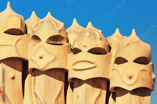 fototapeta na ścianę Chimneys of Casa Mila house in Barcelona, Spain