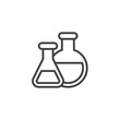 Chemical flasks outline icon. linear style sign for mobile concept and web design. Laboratory glassware or beaker simple line vector icon. Chemistry science symbol, logo illustration