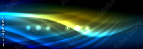 Liquid neon flowing waves, glowing light lines background