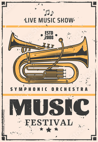 Live music show and festival, vector trumpet