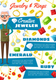 Jeweler man and gemstone jewels, vector