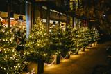 Geschmückte Weihachtsbäume in New York bei Nacht