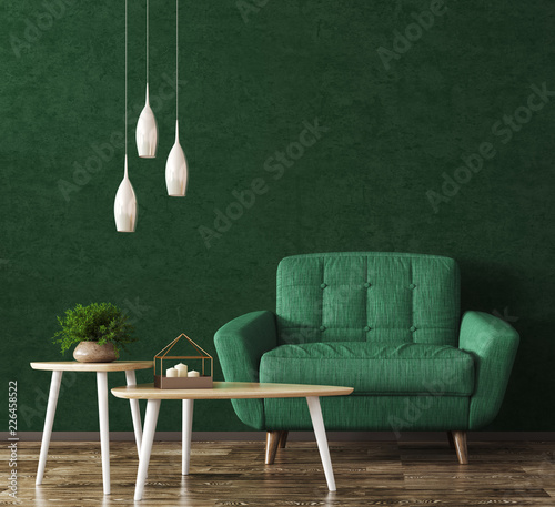 Interior with armchair and coffee tables 3d rendering