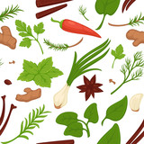Dill and parsley, greenery and herbs seamless pattern vector - 226460348