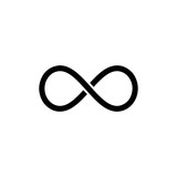 Black infinity symbol icon. Concept of infinite, limitless and endless. - 226462103