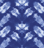 Seamless pattern, abstract tie dyed fabric of indigo color on white cotton. Hand painted fabrics. Shibori dyeing - 226463937