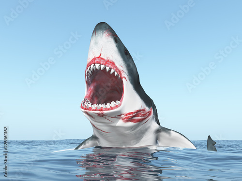 Fototapeta Great white shark leaping out of the water