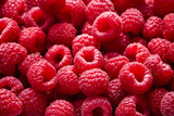 top view of raspberry fruits as textured background