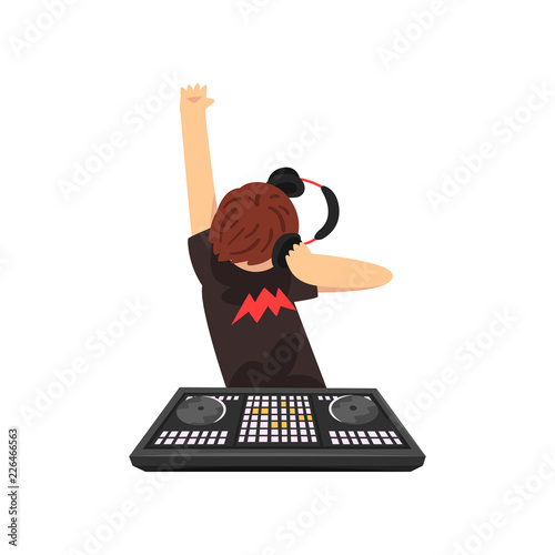 Male DJ in headphones mixing music on vinyl turntables, guy playing music on mixer console deck vector Illustration on a white background