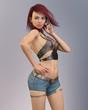 Junge gutaussehende Frau posiert in Freizeitkleidung