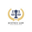 emblem of justice law logo design template. attorney logo vector design. scales and pillar of justice vector illustration
