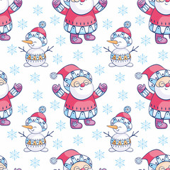 Christmas seamless pattern with Santa Claus and snowman. Childhood vector background in ethnic style. © olga_a_belova