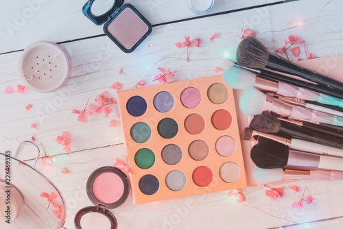blush, eye shadow powder and other cosmetics with makeup brushes - 226469383