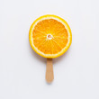 Leinwanddruck Bild - Natural and cold / Creative concept photo of orange slice arranged as ice cream popsicle on grey background.