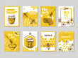 Hand drawn honey posters. Natural honey packaging with bee, honeycomb and hive vector design. Illustration of honey and honeycomb, food sweet posters of set
