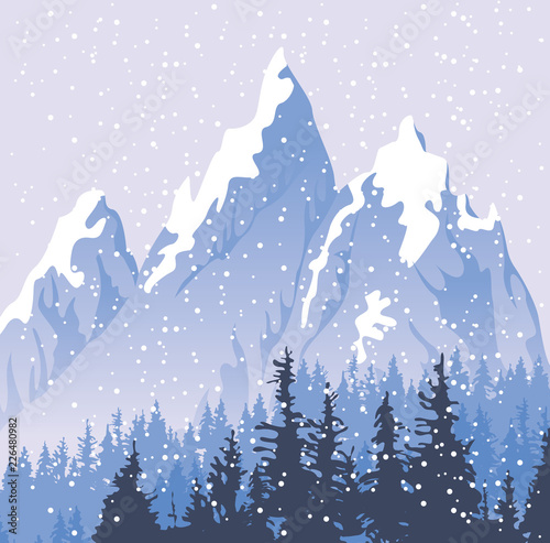 Winter snowy landscape with snowfall and tops of centuries-old fir trees on the background of snow covered mountains. Vector backdrop for winter illustration © paseven