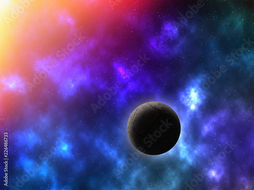 abstract space background with planet and galaxies