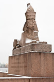 St. Petersburg. Vasilievsky Island. One of the Egyptian Sphinxes at Universitetskaya Embankment (on the pedestal it says the Sphinx from Ancient Egypt was brought to city of St. Peter in 1832) - 226495156