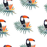 Watercolor illustration ,seamless pattern . Toucan, palm leaf and strelitzia flower. Hand drawn sketch. Print design.