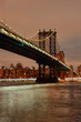 Manhattan Bridge at night. New York