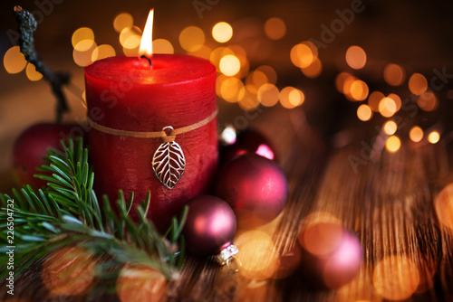 Leinwanddruck Bild Christmas candles decoration