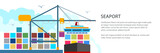Unloading Containers from a Cargo Ship at the Seaport with Cargo Crane, International Freight Transportation Banner, Vector Illustration - 226507581