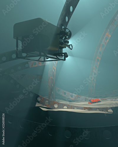 Fototapeta 3D render of an ROV discovering a flight data recorder in an undersea crash debris field. Fictitious UAV and flight recorder, Murky water to emphasize depth and for dramatic effect