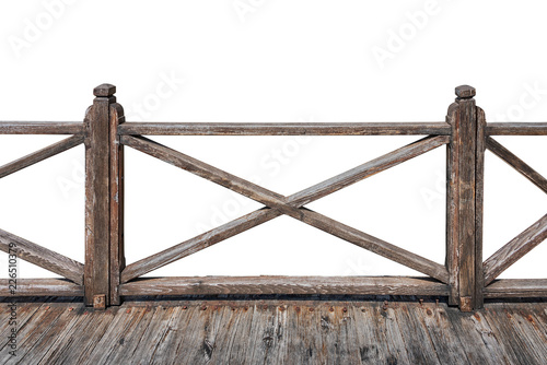 4ade5c6f1772b Old wooden railing with wooden deck isolated on white background ...