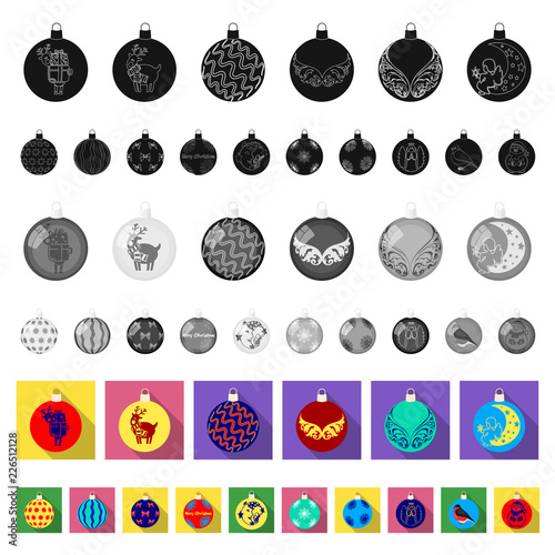 Christmas toys flat icons in set collection for design.New Year balls vector symbol stock web illustration. © pandavector