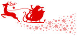 Red Christmas Sleigh With Star & Snowflakes Swirl