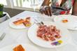 jabugo iberico ham with bread and tomato