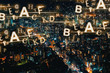 Alphabets with aerial view of Tokyo, Japan at night - 226525995