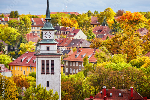 Szczecin cityscape in colorful autumn, Poland