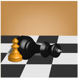 Concept background. Chess desk with pawn and laying down king pieces. Vector 3d illustration.