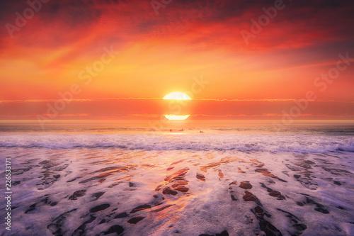 beautiful seascape in beach at sunset