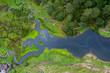 Quadro Foto aérea de un río con cabañas y puentes de madera en un bosque verde