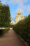 Building of old church with a golden dome against blue sky - 226537580