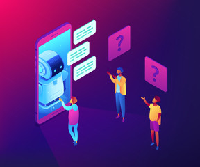 Chatbot technology concept vector isometric illustration.