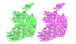 Sketch Ireland letter text map, Republic of Ireland - in the shape of the continent, Map Ireland - green and purple vector illustration - 226542188