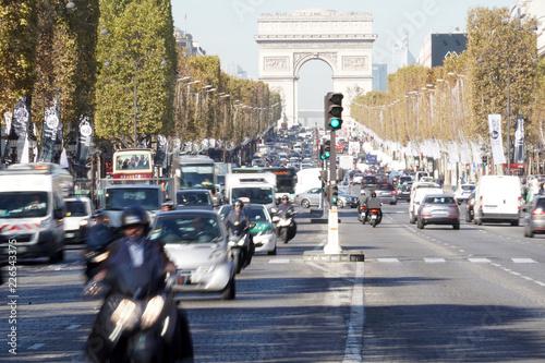 PARIS, FRANCE - OCTOBER 5 2018 -  Paris street congested traffic - 226543375