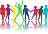 Dancing children silhouettes. - 226545739
