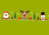 Santa, Rudolph & Snowman Symbols Light Green
