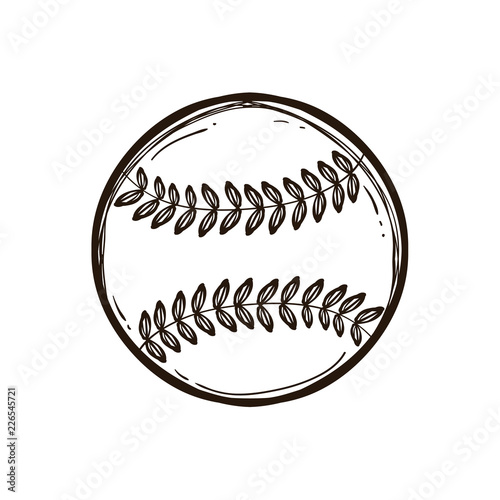 Leather baseball ball isolated. Coloring book