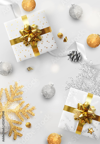 Christmas background. Holiday design with Xmas decoration and realistic objects. Happy new year greeting card, banner, web poster. Vector illustration