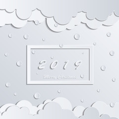 White frame merry christmas 2019 on white background. Clouds and Snowflakes. White paper cut background. Abstract modern 3d origami paper art style