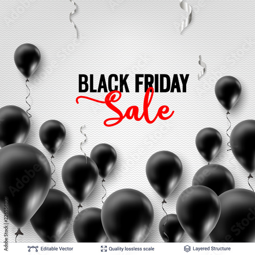 Czarny piątek sprzedaż Backgrond. Balony powietrzne i tekst